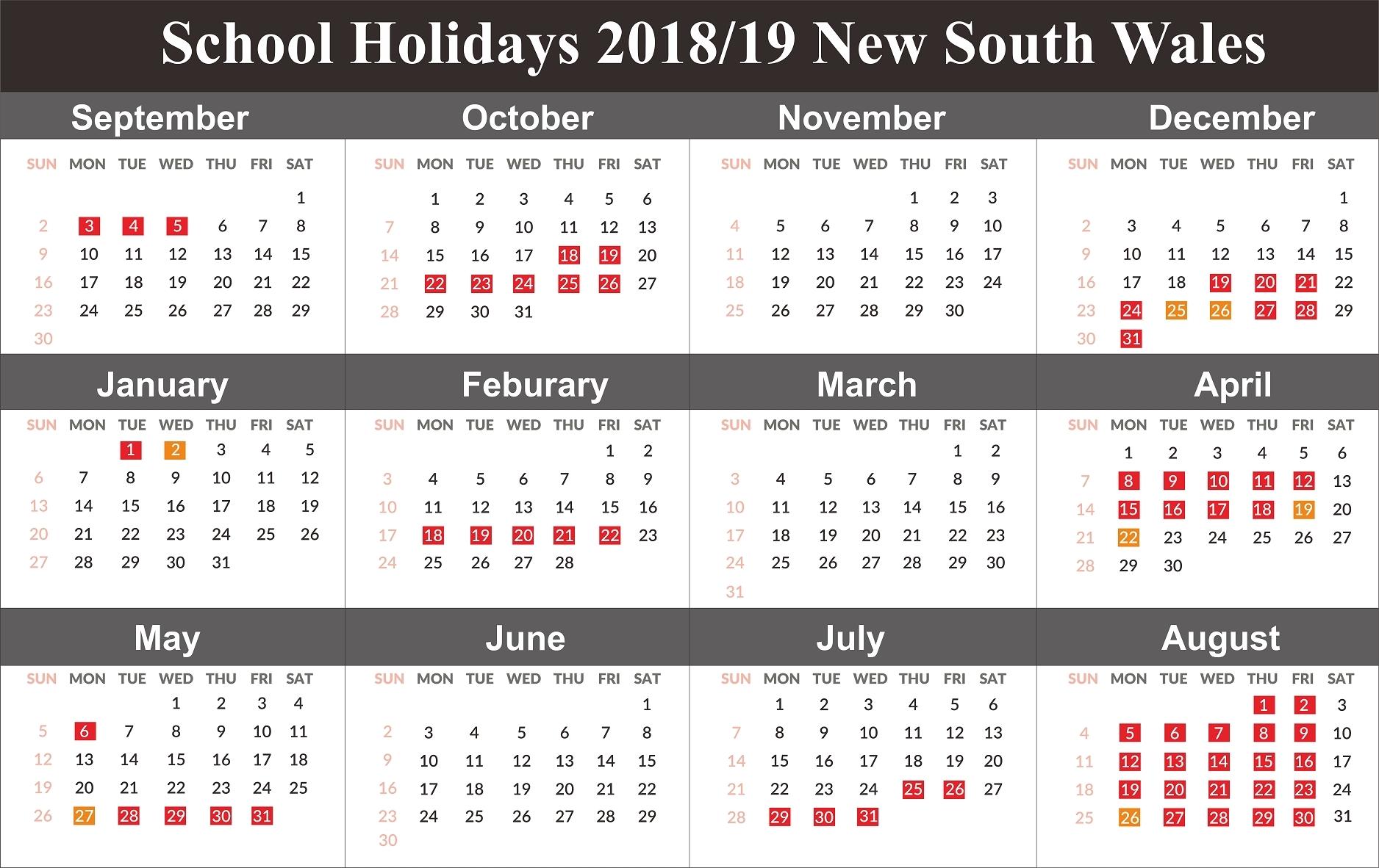 Calendar School Holidays Nsw • Printable Blank Calendar Template Calendar Public Holidays Nsw