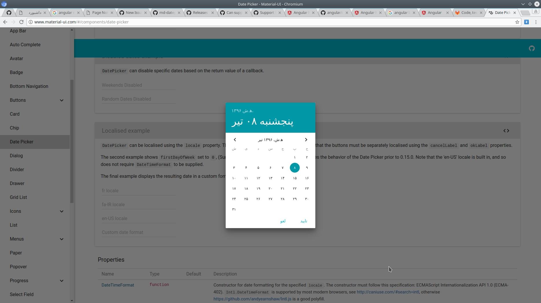 Calendar: Support Persian Calendar · Issue #10777 · Angular/material Calendar Icon Angular Material
