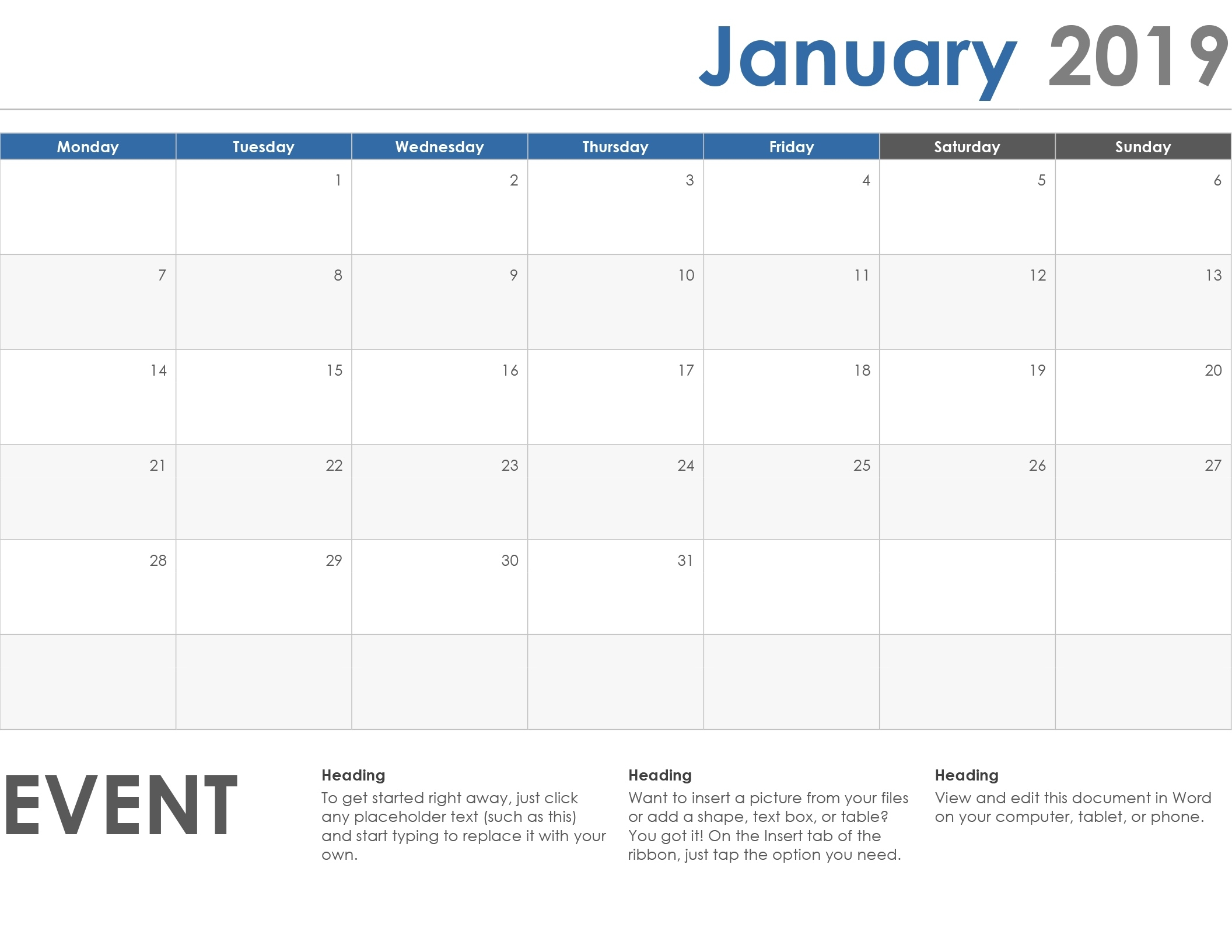 Calendars - Office Calendar Template To Add Notes