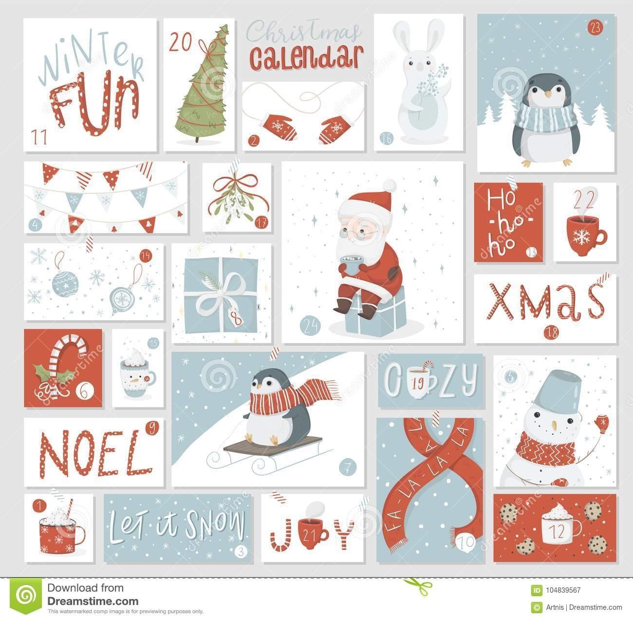 Christmas Advent Calendar, Cute Hand Drawn Style. Stock Vector Advent Calendar Countdown Or Count Up