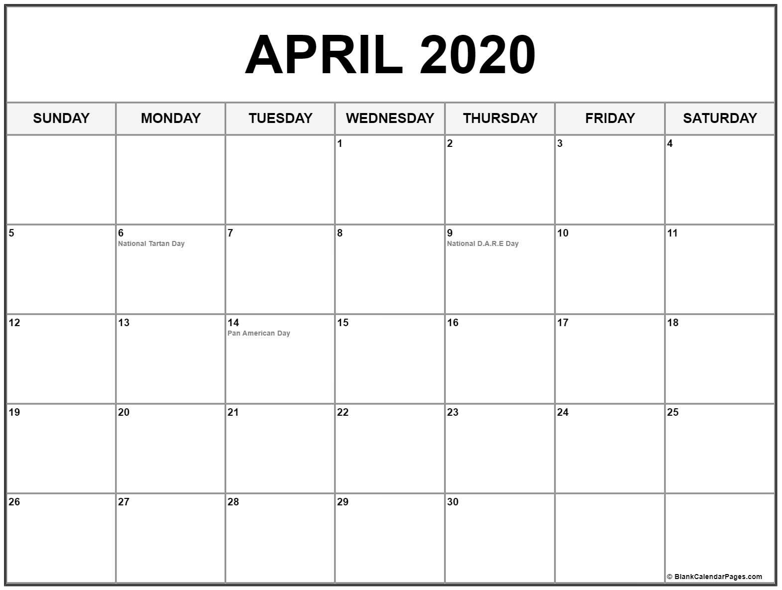 Collection Of April 2020 Calendars With Holidays Dashing 2020 Calendar With Holidays