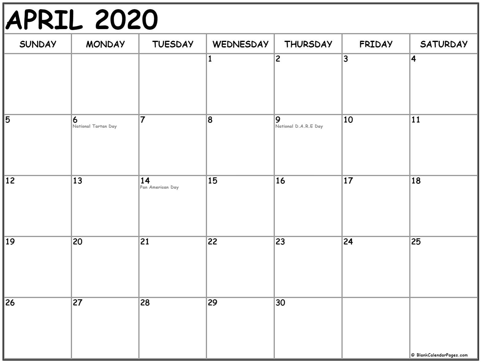 Collection Of April 2020 Calendars With Holidays Dashing 2020 Holiday Calendar Federal