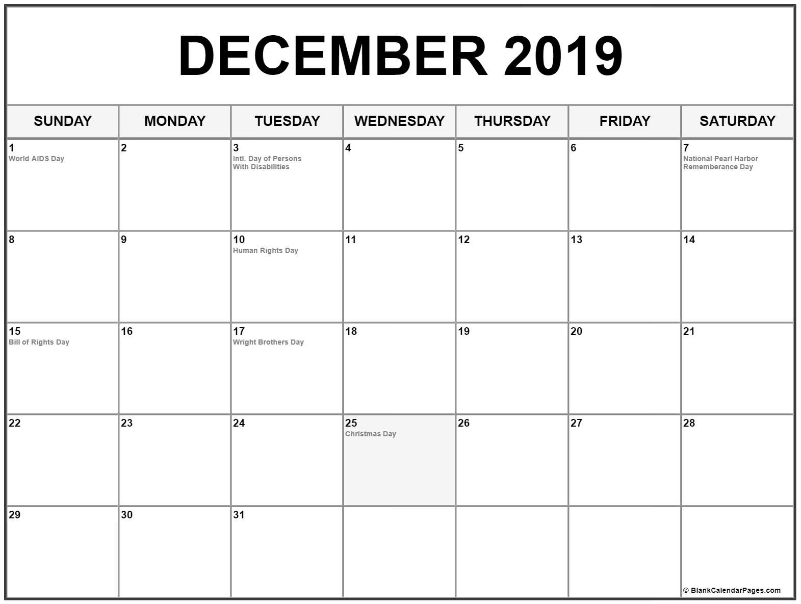 Collection Of December 2019 Calendars With Holidays Calendar Holidays In December