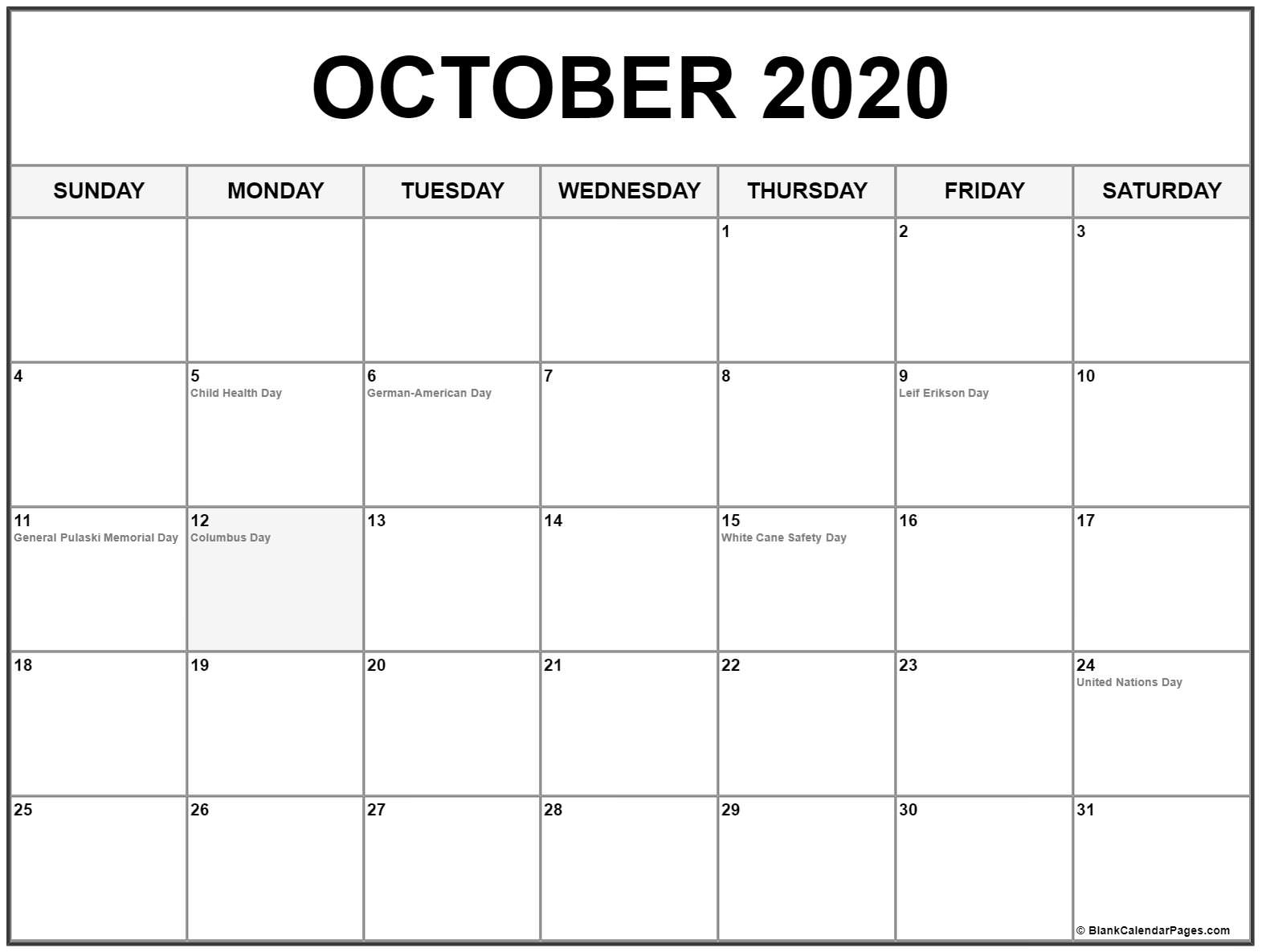 Collection Of October 2020 Calendars With Holidays Dashing 2020 Calendar With Holidays
