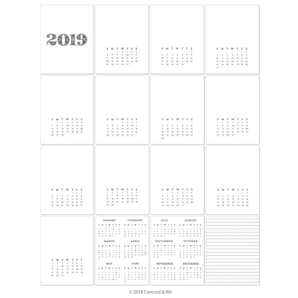 Concord & 9Th Cardstock, 2019 Calendar (Pre-Printed) In London, On Calendar Printing London Ontario