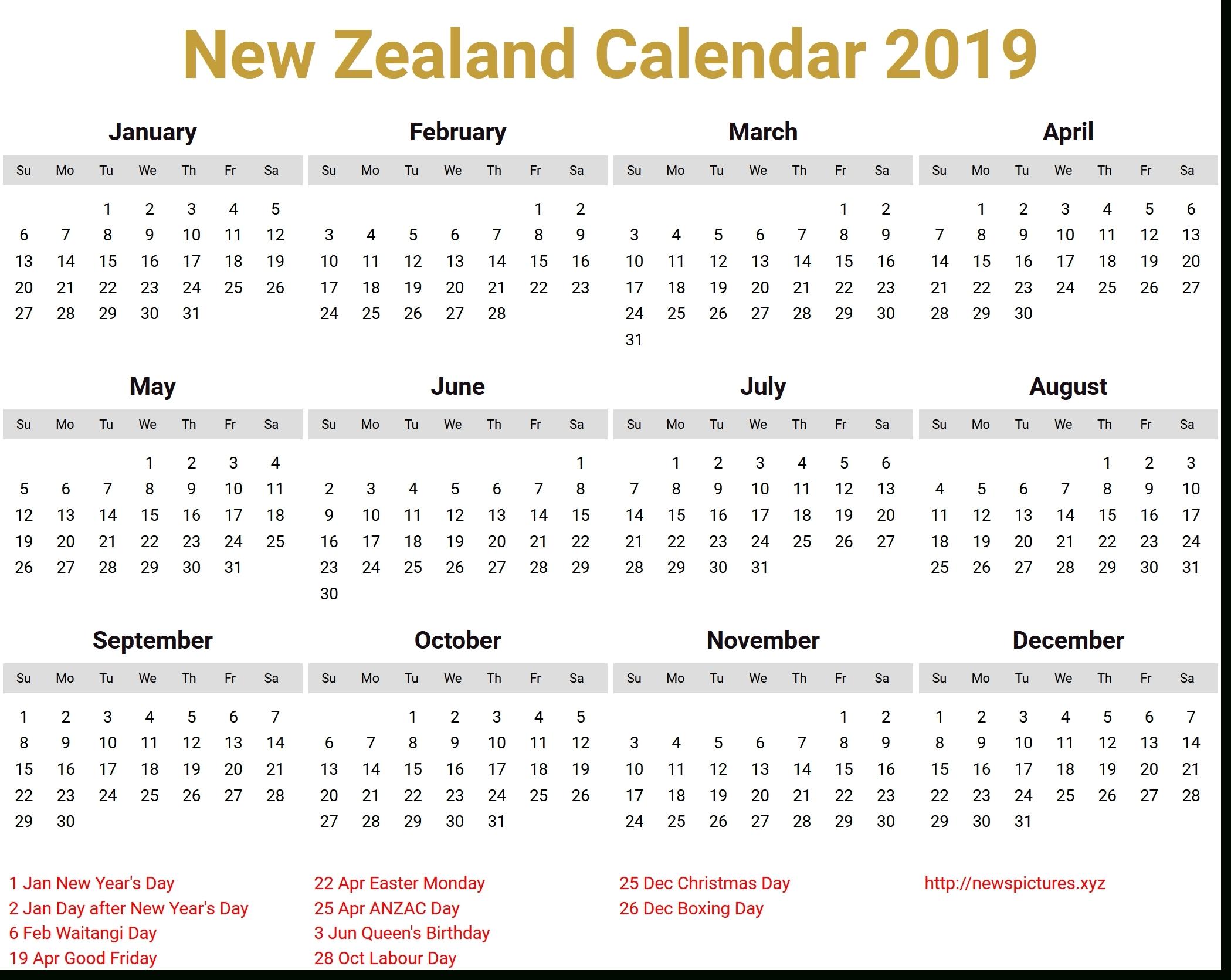 December 2019 Calendar Nz Holidays • Printable Blank Calendar Template Apple Calendar Nz Holidays