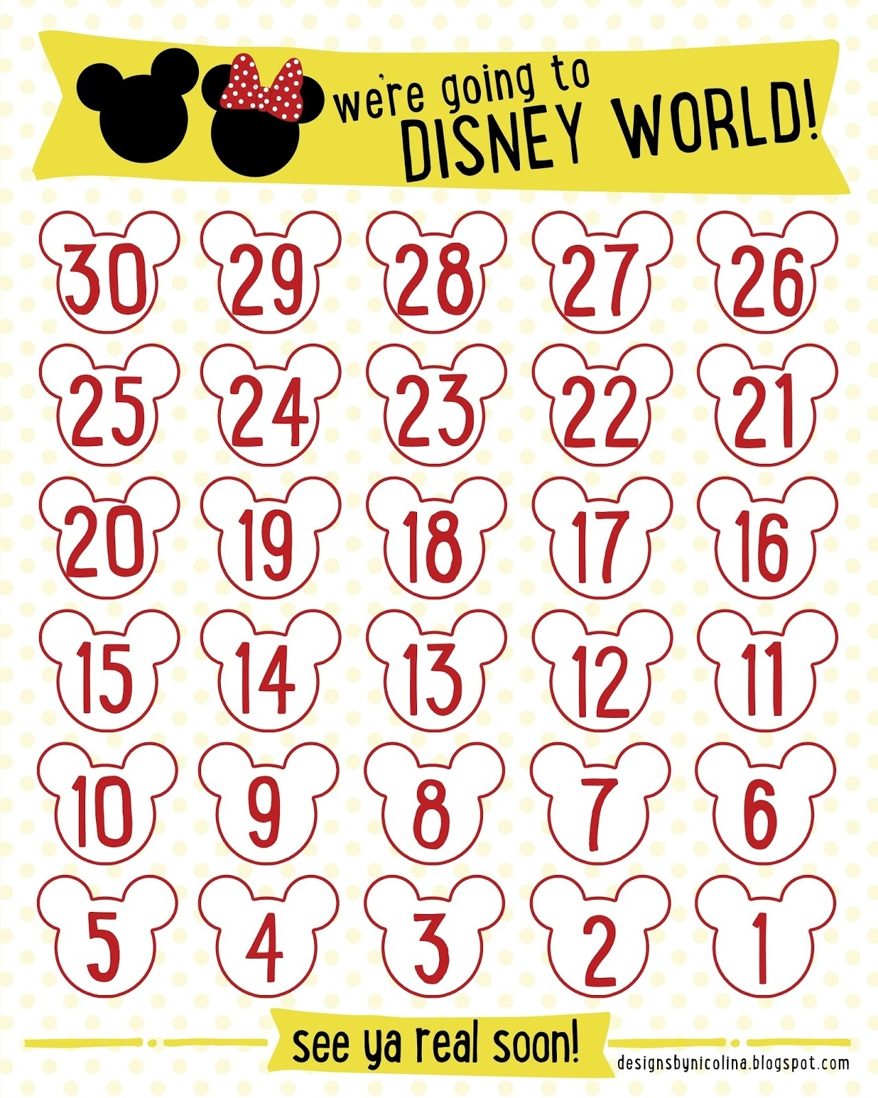 Designs By Nicolina: Disney Countdown! /// Free Printable /// Calendar Countdown To Print