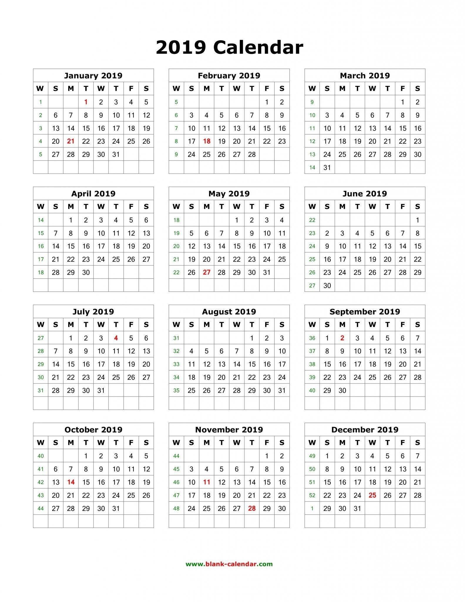 Download Blank 2019 Calendar Templates | 12 Month Calendar In One 5 Month Calendar Template