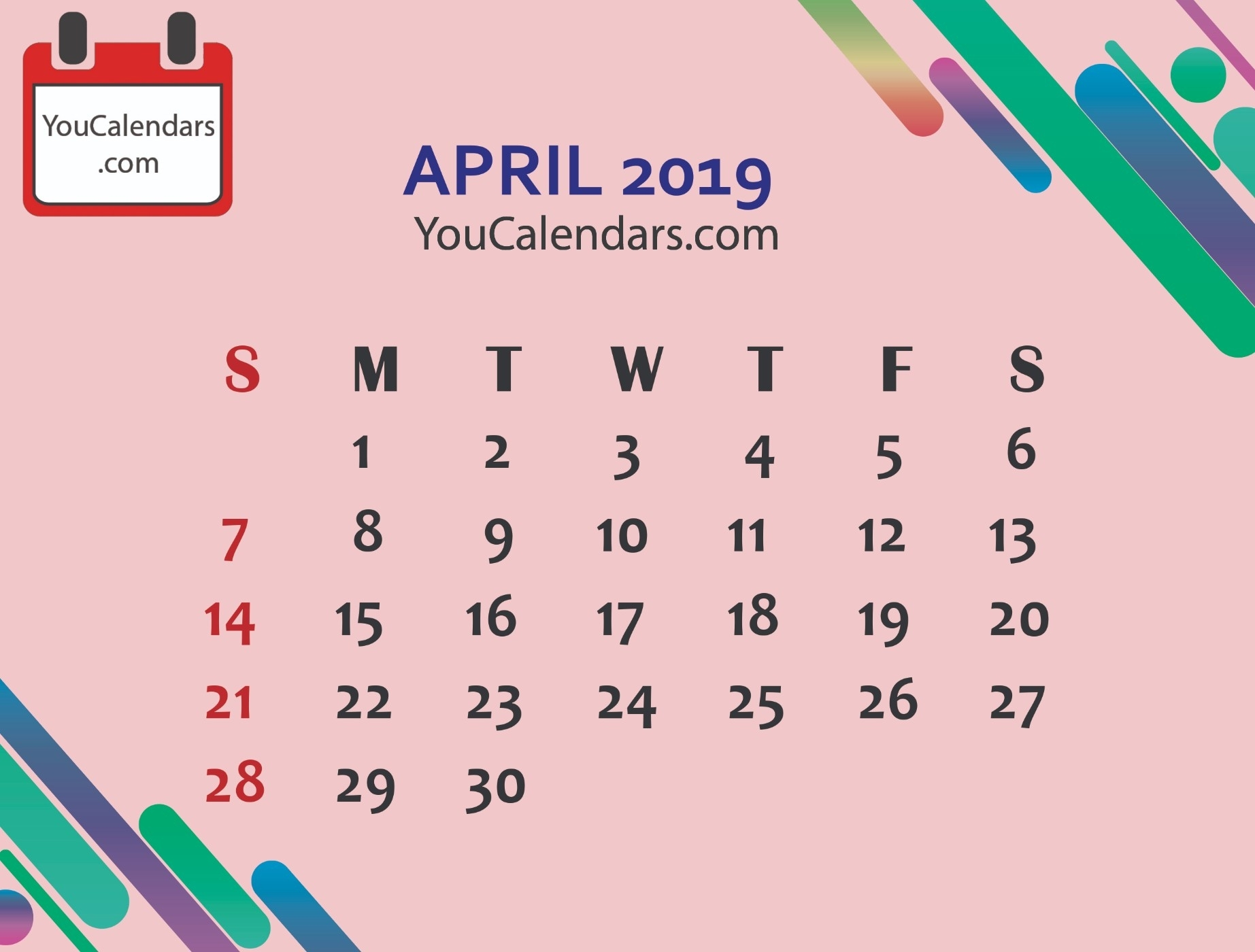 ✅Free April 2019 Calendar Printable Template - You Calendars Calendar Themes For Each Month Uk