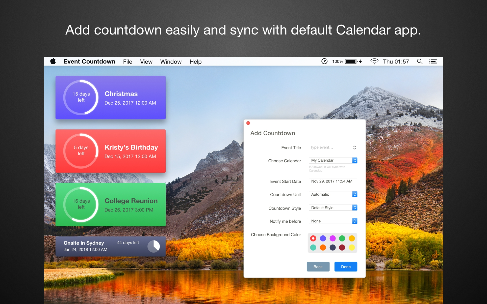 Event Countdown On The Mac App Store Countdown Calendar For Your Desktop