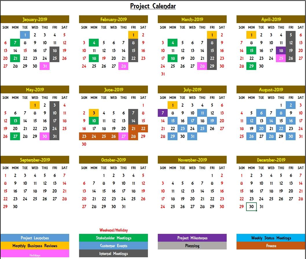 Excel Calendar Template - Excel Calendar 2019, 2020 Or Any Year 1 Year Calendar Template Excel