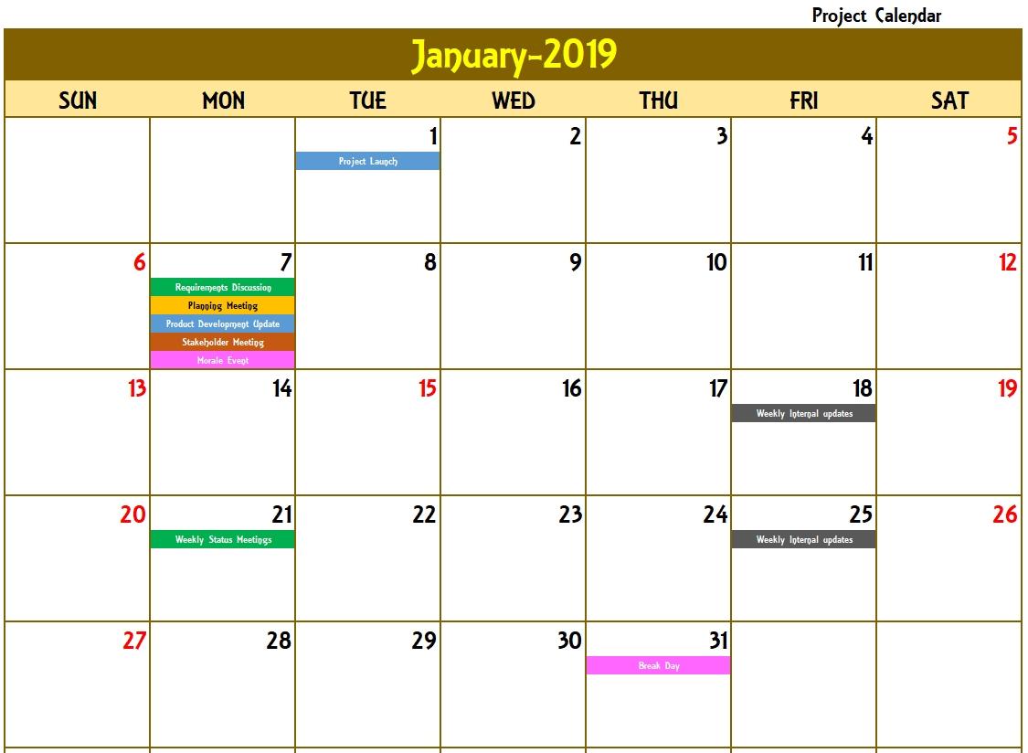 Excel Calendar Template - Excel Calendar 2019, 2020 Or Any Year Excel Calendar Template Recurring Events