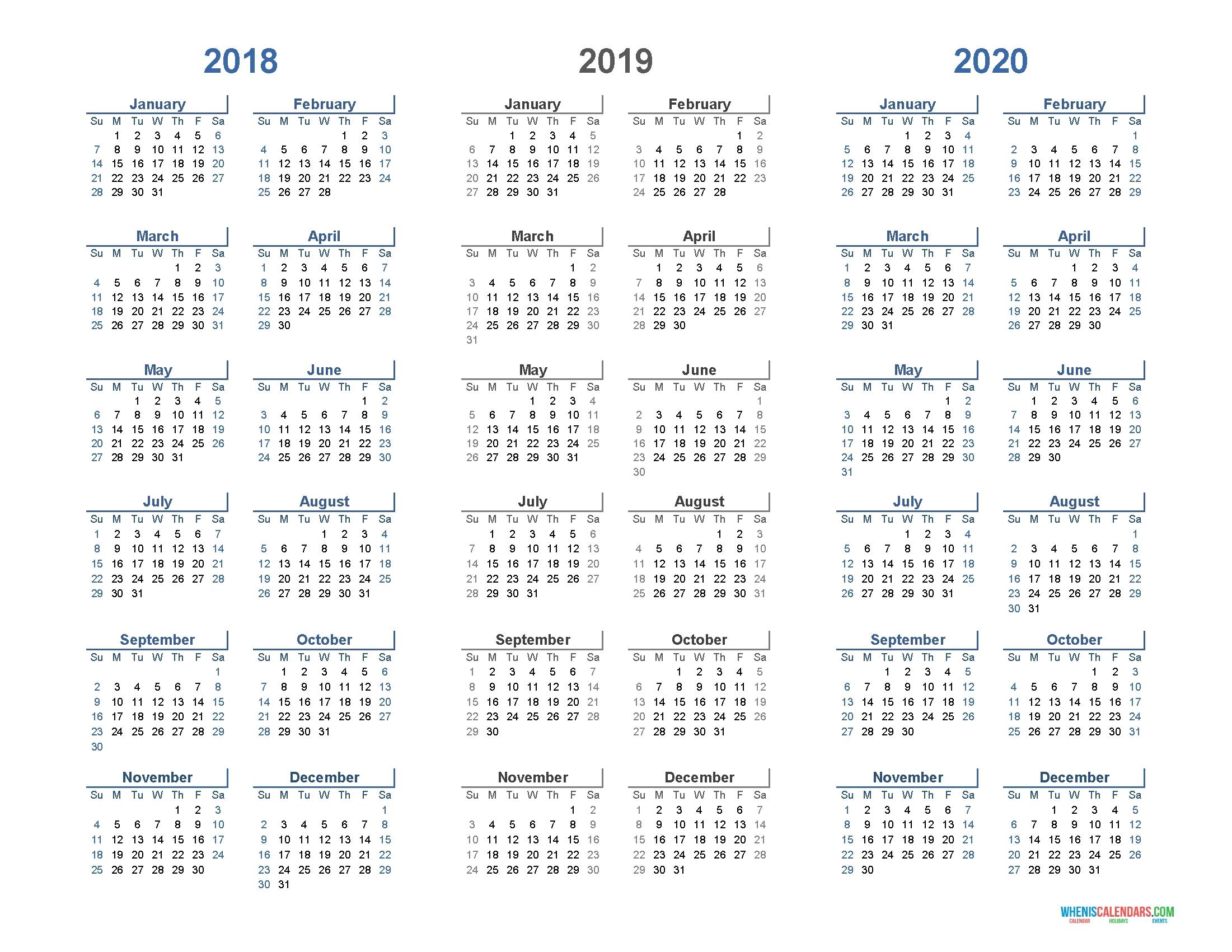 Extraordinary 3 Year Printable Calendar 2019 To 2020 • Printable Impressive 3 Year Calendar 2020