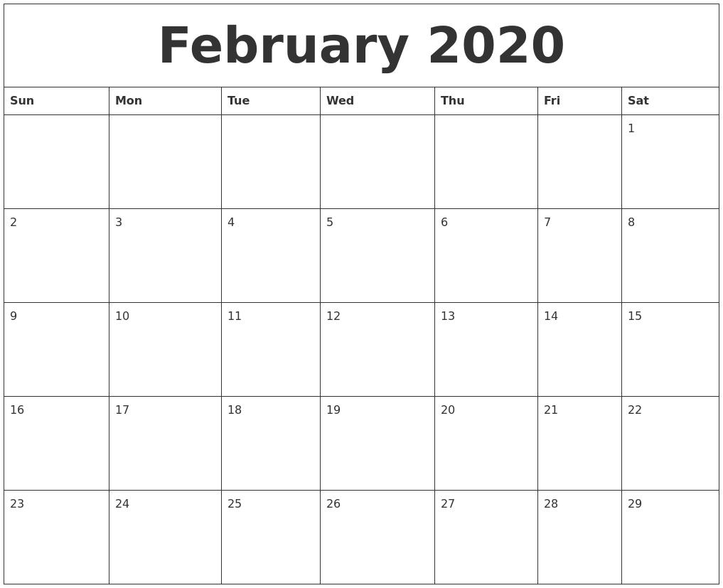 February 2020 Free Printable Calendar Templates Free Printable Calendar By Month