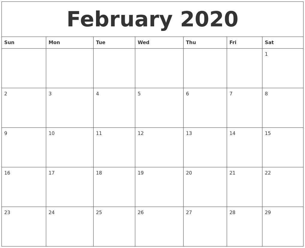 February 2020 Word Calendar Remarkable 2020 Calendar Printable Word
