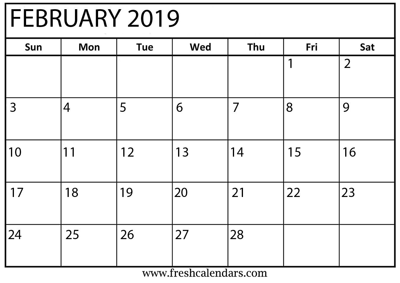 February Month Calendar 2019 Blank Template   Blank February 2019 Free Calendar Template Kindergarten