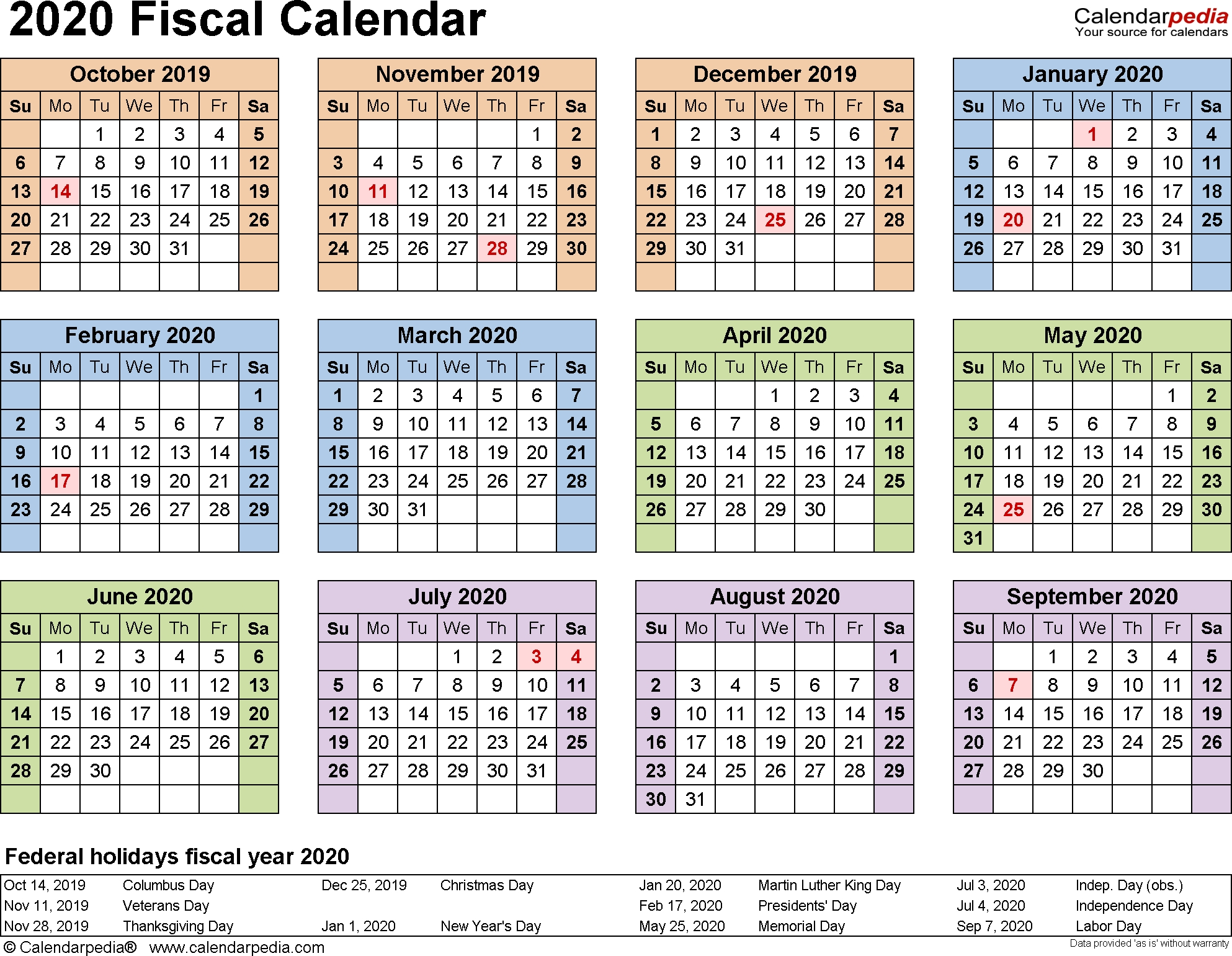 Fiscal Calendars 2020 As Free Printable Pdf Templates 3 Year Calendar 2020