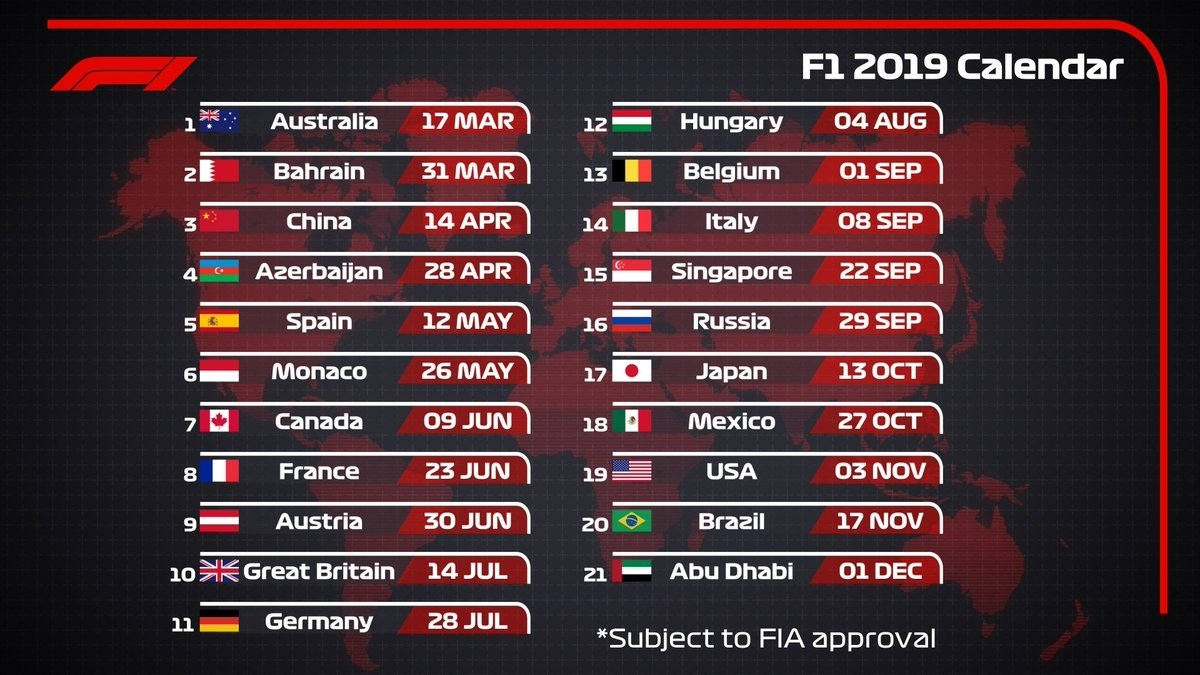 "Formula 1 On Twitter: ""2019 Draft #f1 Calendar 🗓 21 Races 9 Extraordinary Formula 1 2020 Calendar"