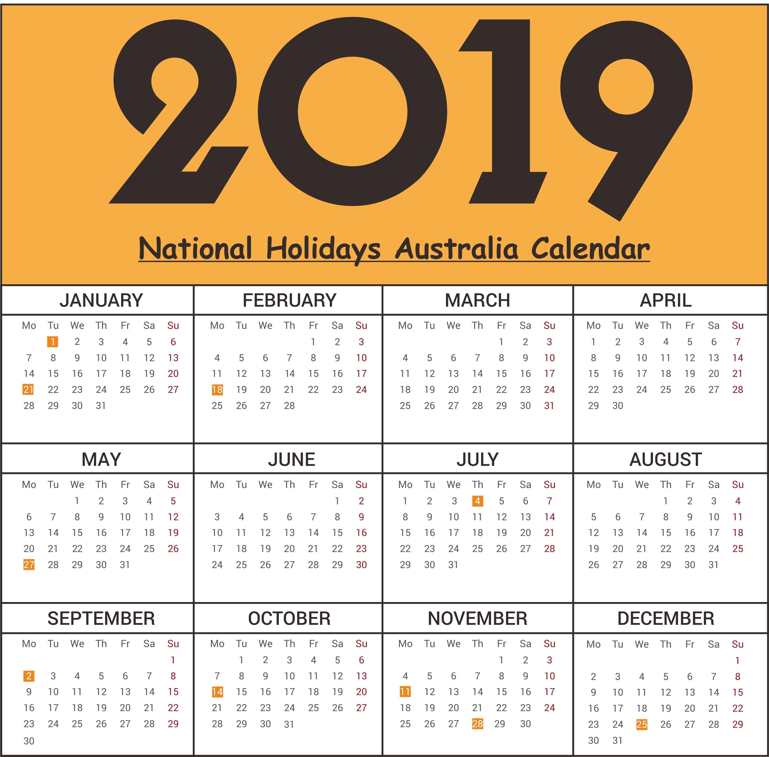 Free Australia National Holidays 2019 Calendar Templates | Free Calendar Public Holidays Nsw
