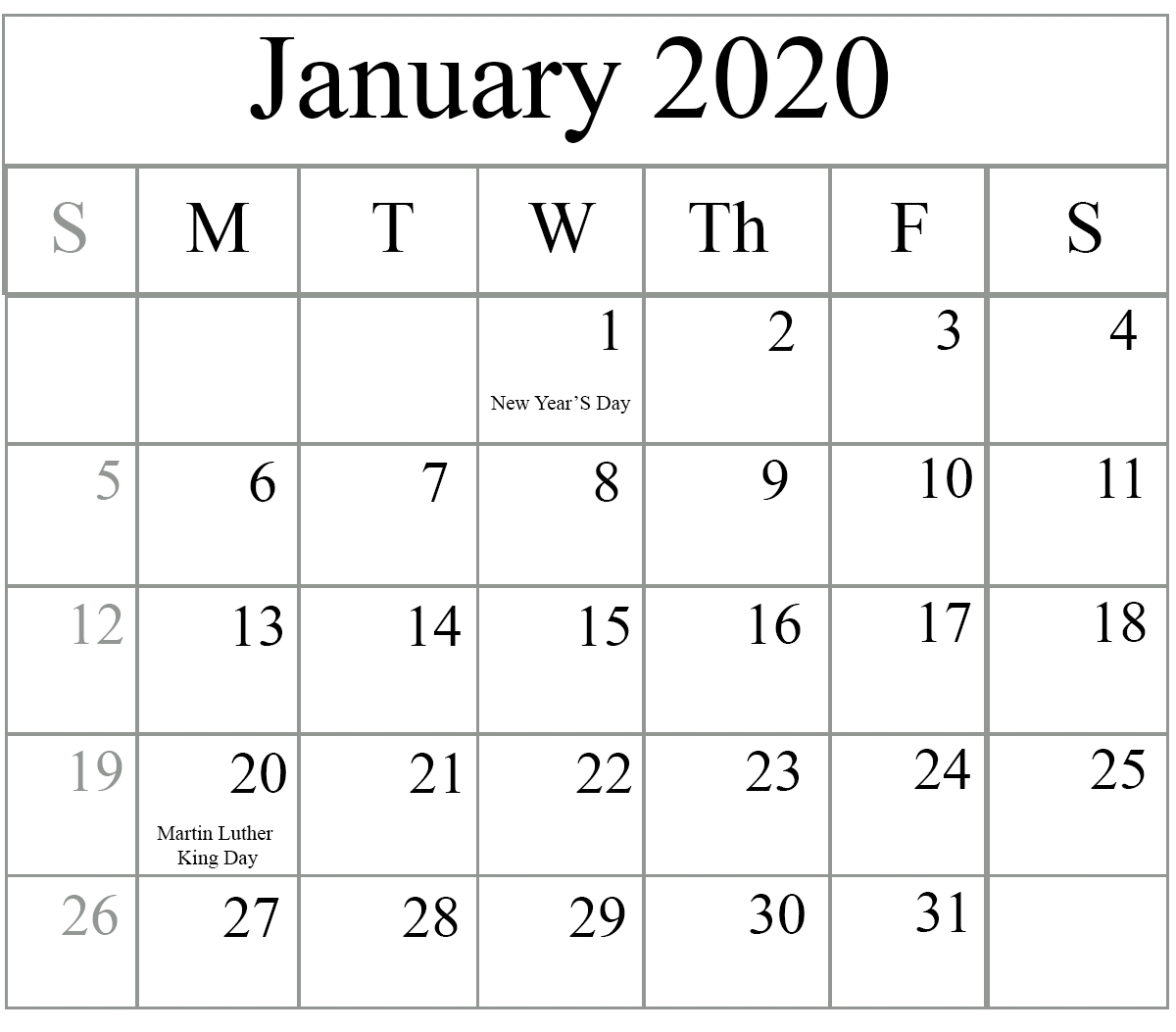 Free January 2020 Printable Calendar In Pdf, Excel & Word 2020 Calendar Printable Word