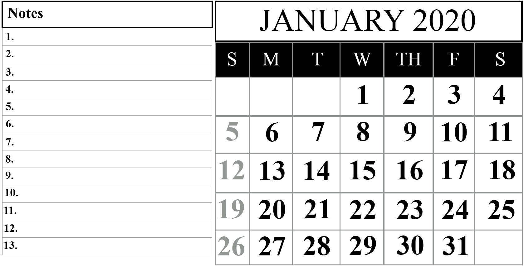 Free January 2020 Printable Calendar In Pdf, Excel & Word Dashing 2020 Calendar In Word