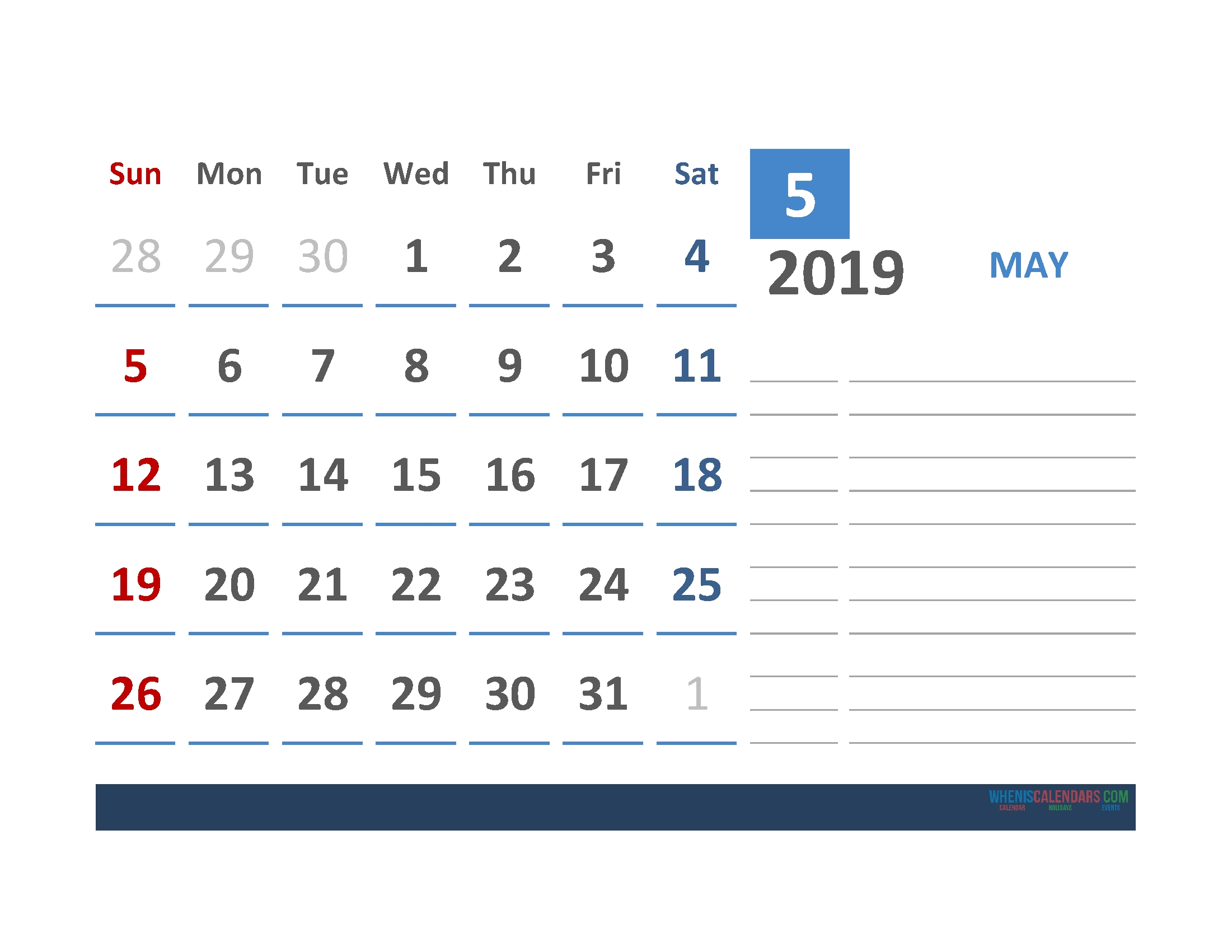 Free May 2019 Calendar Template With Space For Notes | Free Calendar Template With Room For Notes