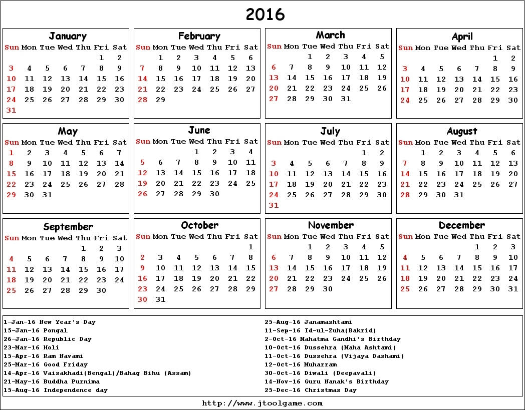 Free Printable 2016 Calendar With Holidays - Printable Calendar Year Calendar With Holidays