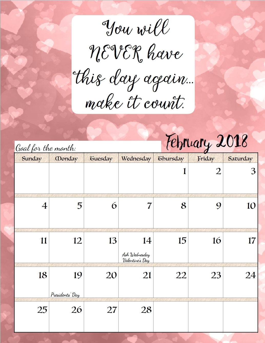 Free Printable 2018 Monthly Motivational Calendars | عععع | Calendar Monthly Calendar Inspirational Quotes
