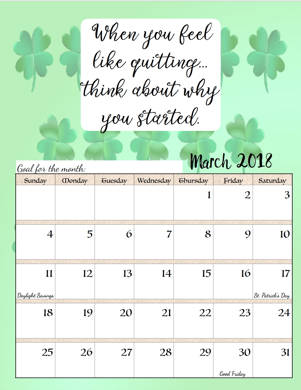 Free Printable 2018 Monthly Motivational Calendars | عععع | March Monthly Calendar Inspirational Quotes