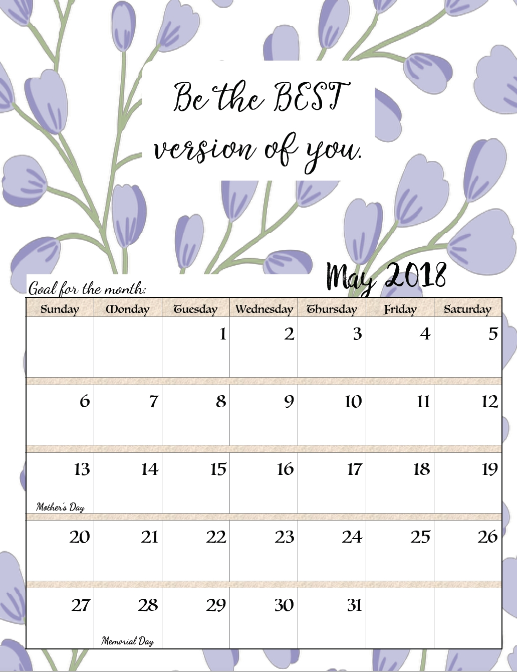 Free Printable 2018 Monthly Motivational Calendars | عععع | May 2018 Monthly Calendar Inspirational Quotes