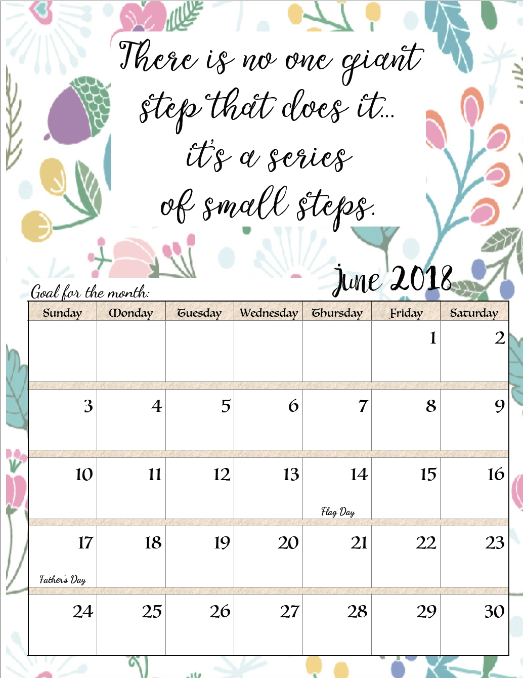 Free Printable 2018 Monthly Motivational Calendars Monthly Calendar Inspirational Quotes
