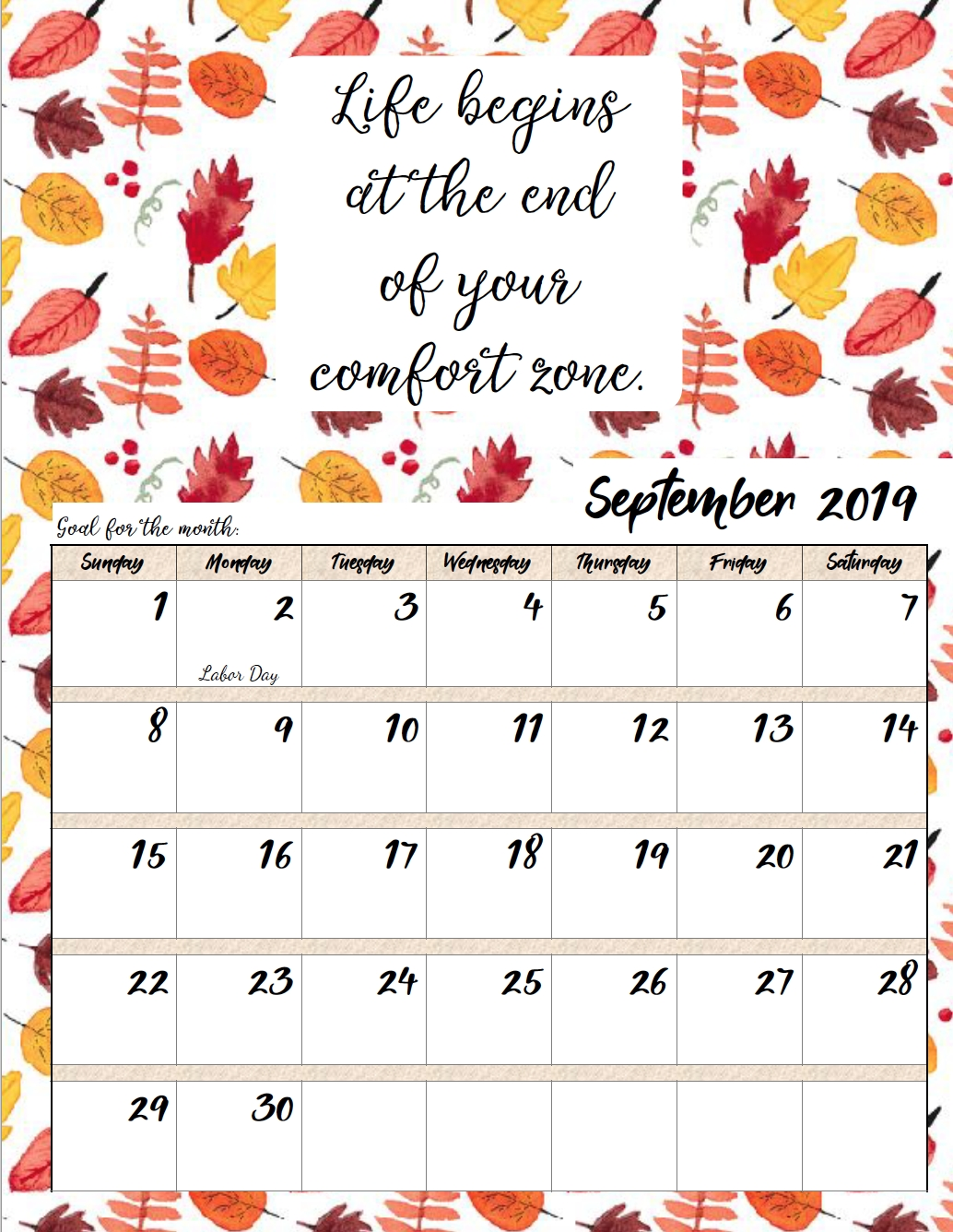 Free Printable 2019 Monthly Motivational Calendars Monthly Calendar Inspirational Quotes