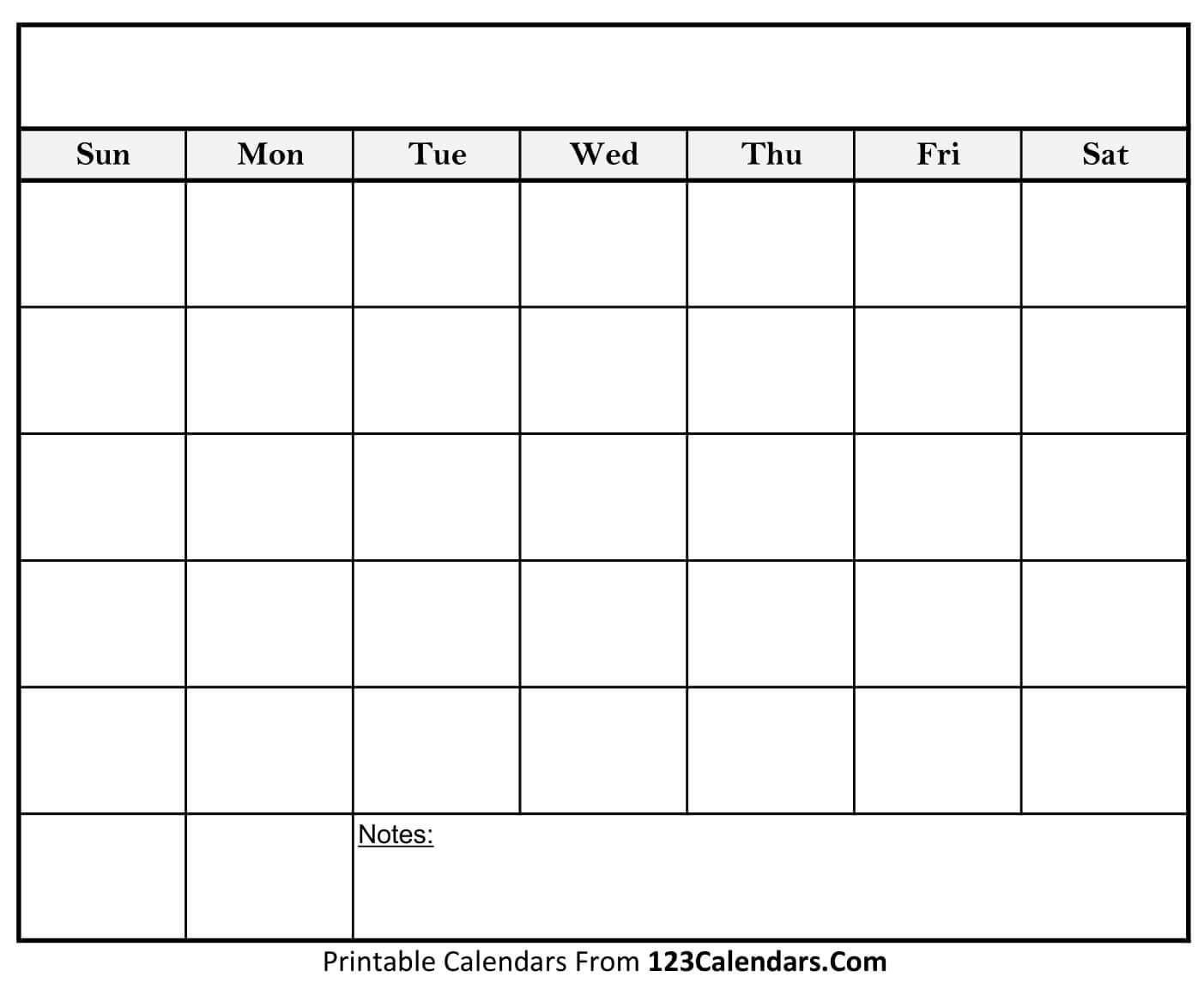 Free Printable Blank Calendar | 123Calendars Calendar Blank To Print