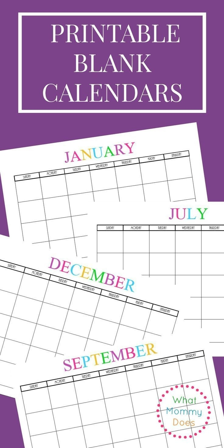Free Printable Blank Monthly Calendars – 2018, 2019, 2020, 2021+ Remarkable Blank Calendar To Use