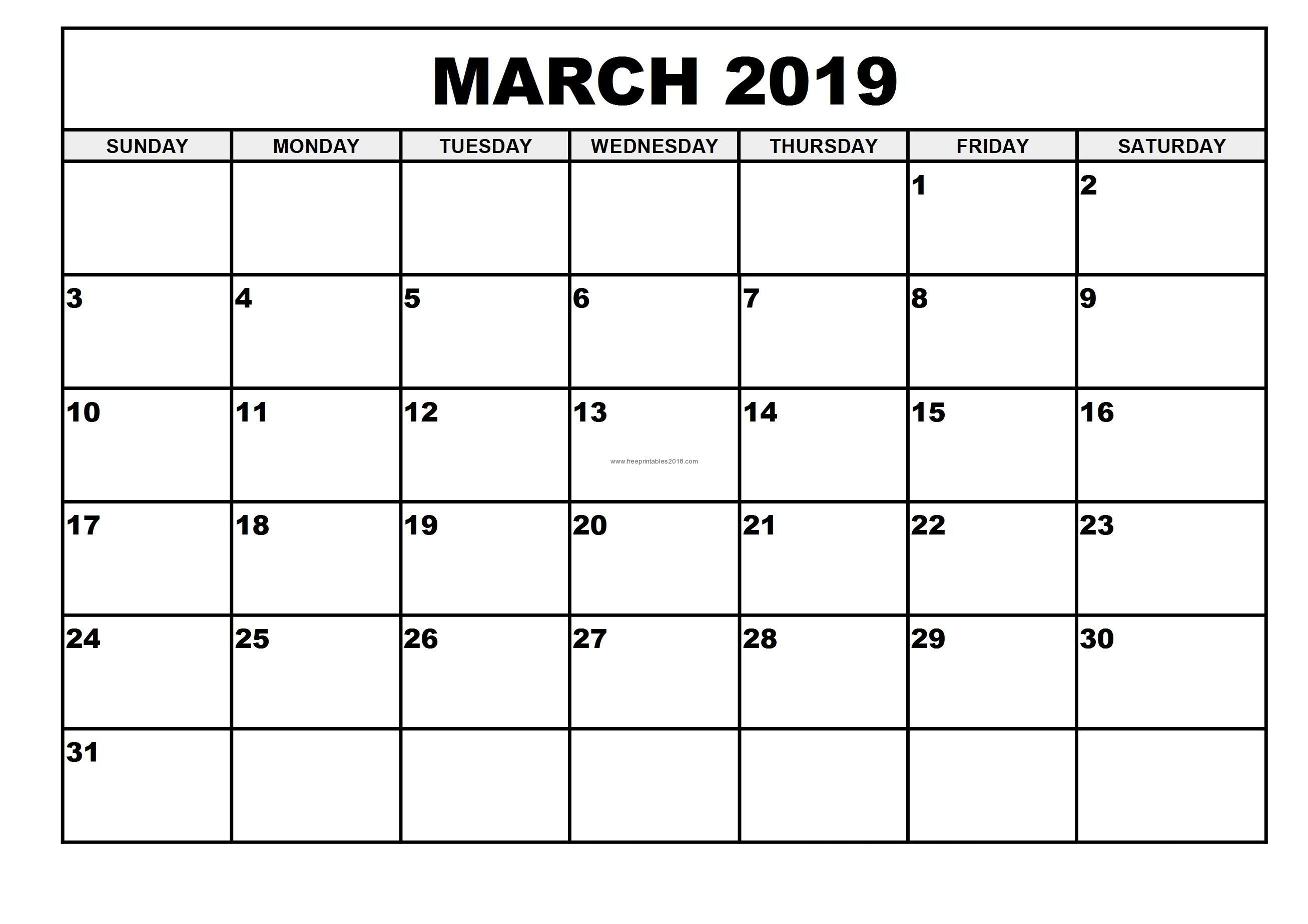 Free Printable Calendar March 2019 2019 Monthly Printable Calendar Free Printable Calendar By Month