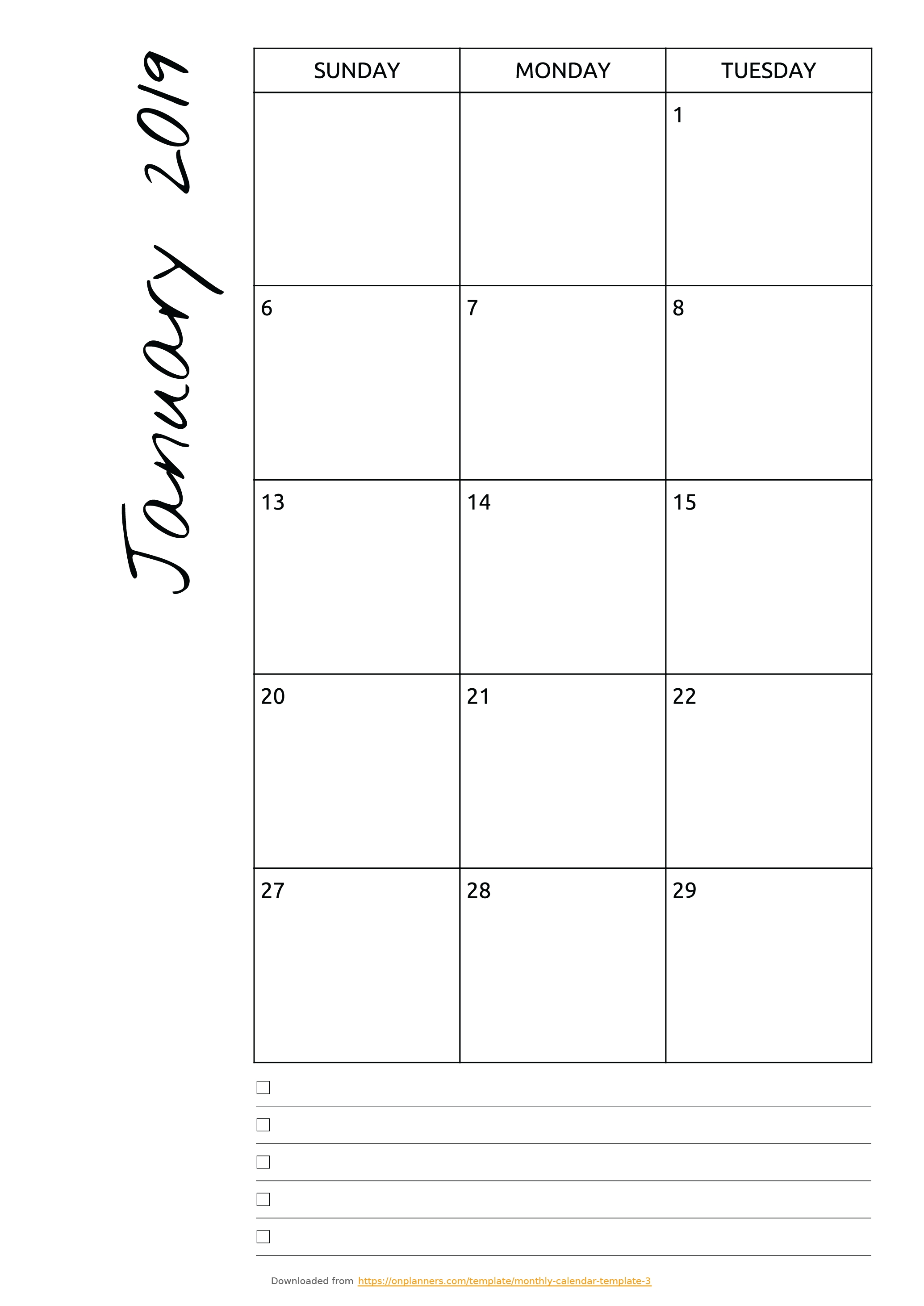 Free Printable Monthly Calendar With Notes Pdf Download Calendar Template With Room For Notes