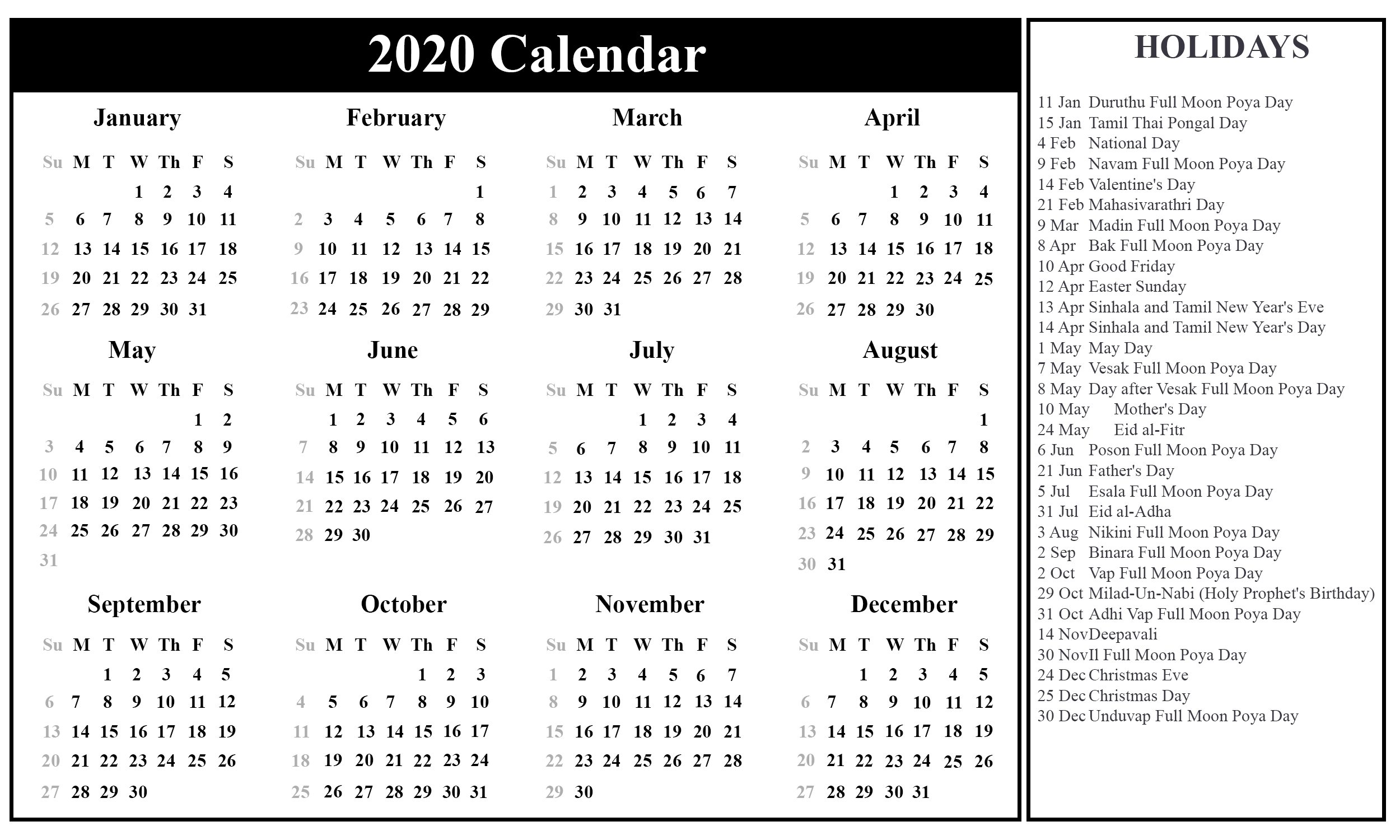 Free Printable Sri Lanka Calendar 2020 With Holidays In Pdf 2020 Calendar With Holidays