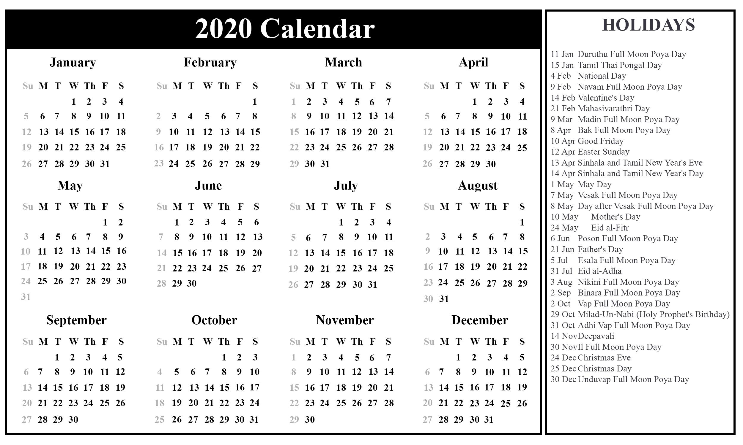 Free Printable Sri Lanka Calendar 2020 With Holidays In Pdf 2020 Calendar With Holidays