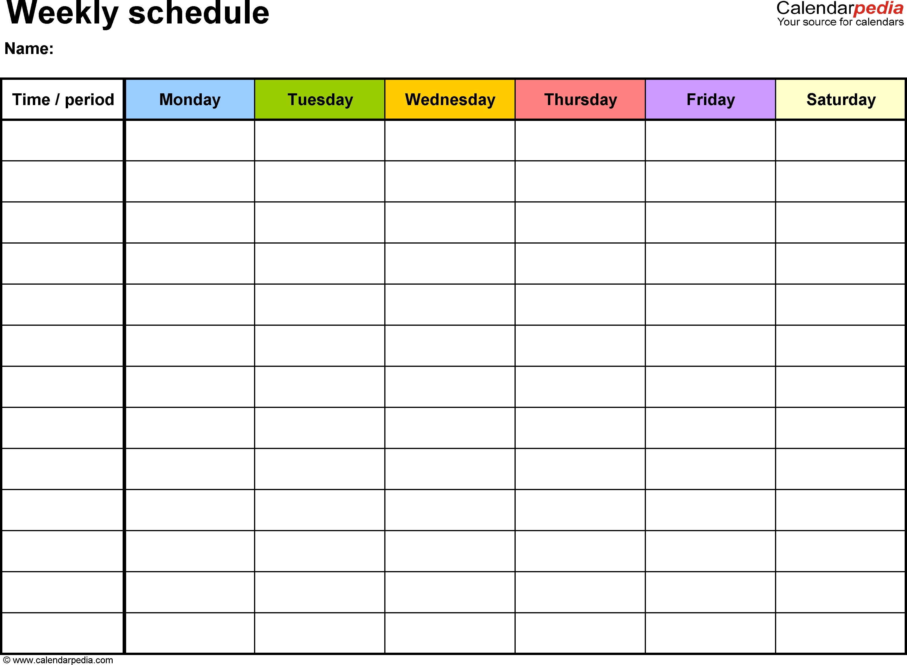 Free Weekly Schedule Templates For Word - 18 Templates 1 Week Blank Calendar Template