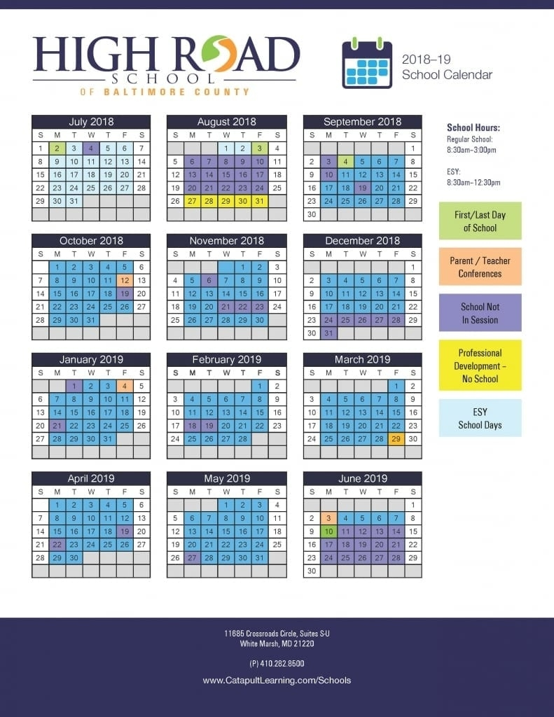 High Road School Of Baltimore County - Catapult Learning School Calendar Baltimore City