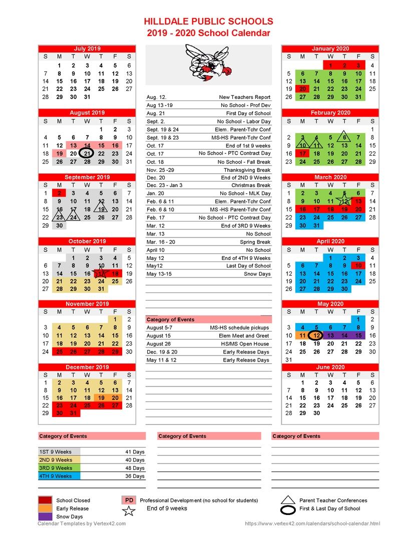 Hilldale Public Schools - **revised**2019-2020 School Calendar Released Exceptional Calendar School District 96