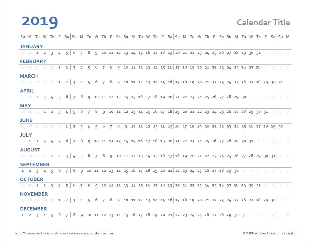 Horizontal Yearly Calendar Templates 1 Year Calendar Template Excel