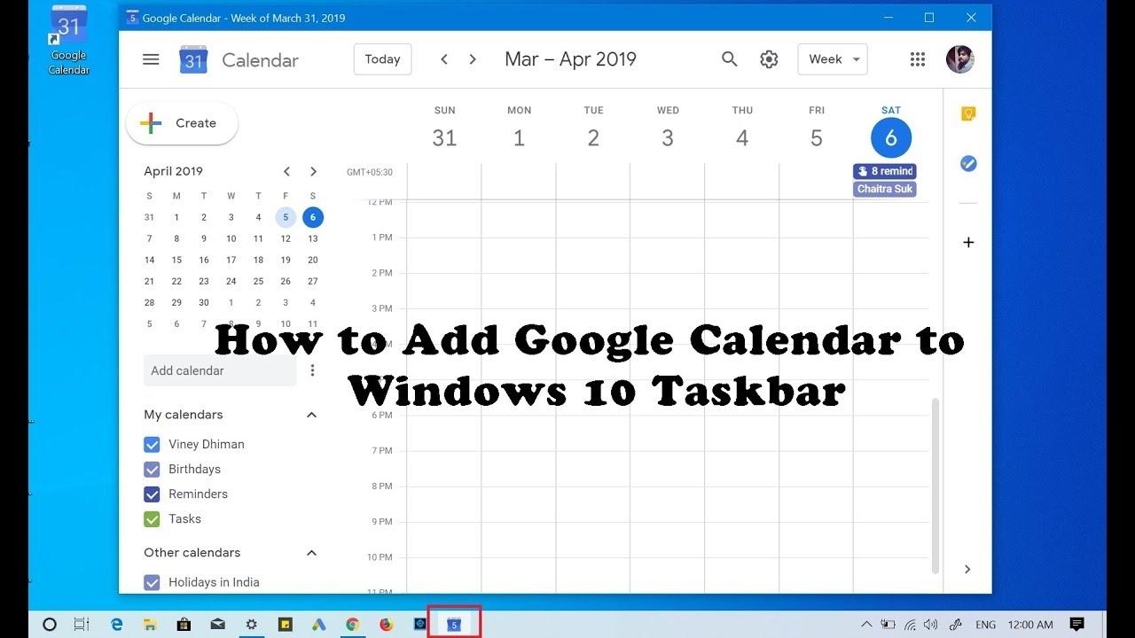 How To Add Google Calendar To Windows 10 Taskbar - Youtube Calendar Icon On Taskbar