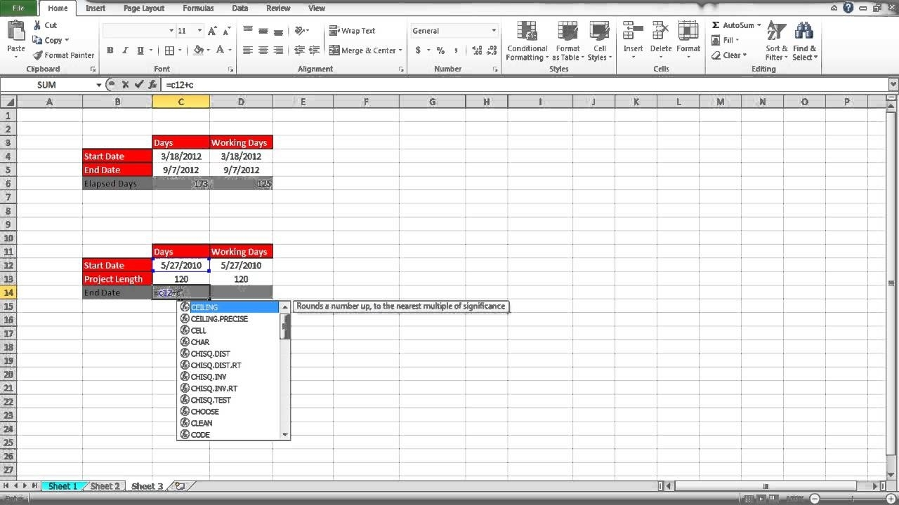 How To Calculate Days In Excel - Youtube Calendar Countdown Excluding Weekends