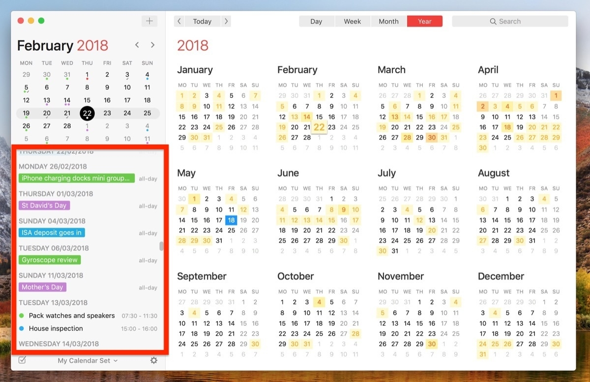 How To View All Events As A List In Your Mac's Calendar App - Macrumors Calendar 6 Month View