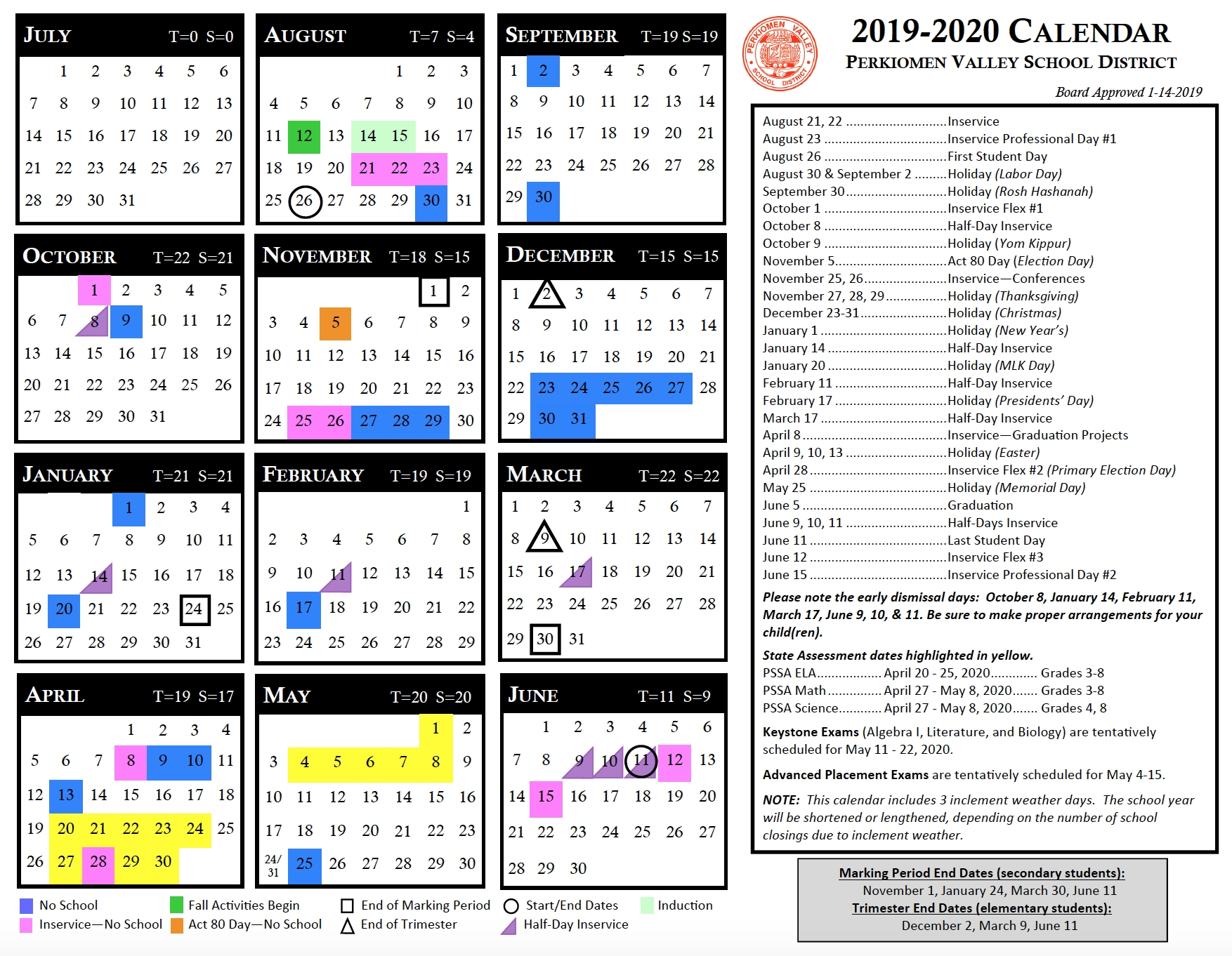 Instructional Calendar - Perkiomen Valley School District Year Round Calendar Jordan School District