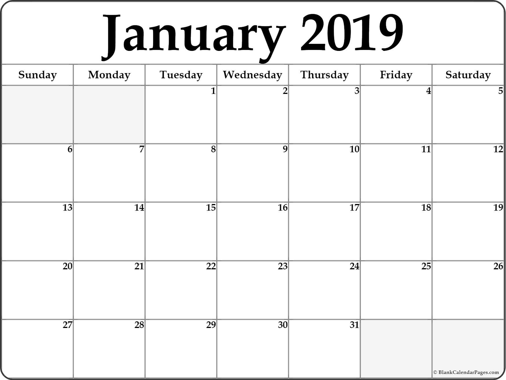 January 2019 Calendar | Free Printable Monthly Calendars Free Printable Calendar Double Month