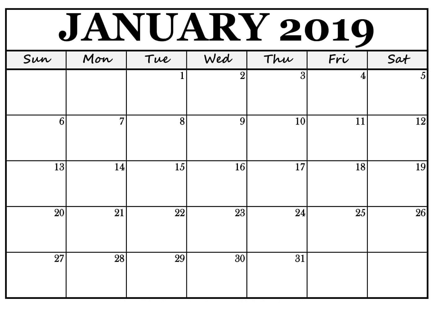 January 2019 Printable Calendar Word | Free Printable January 2019 Free Calendar Landscape Monthly