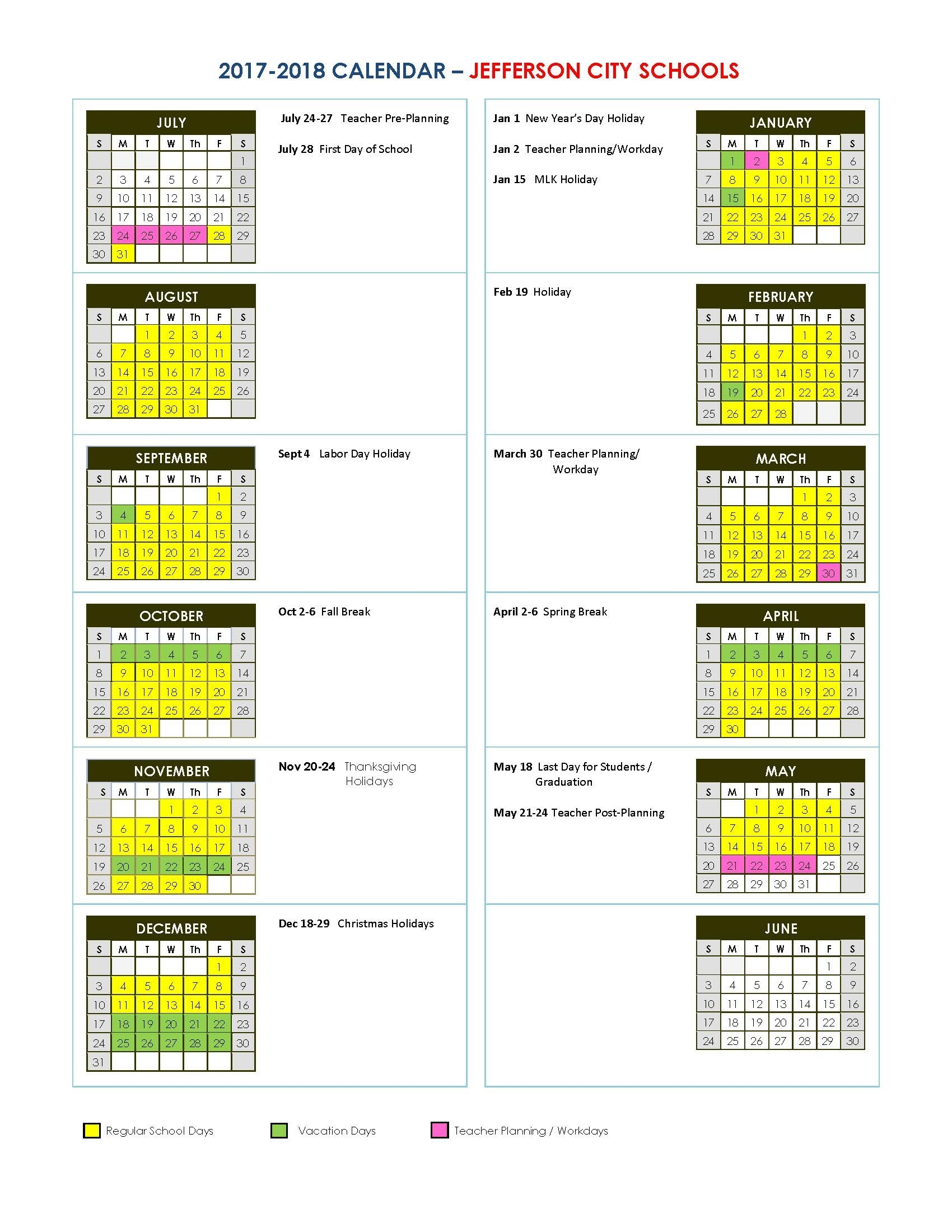 Jefferson City High School School Calendar Baltimore City