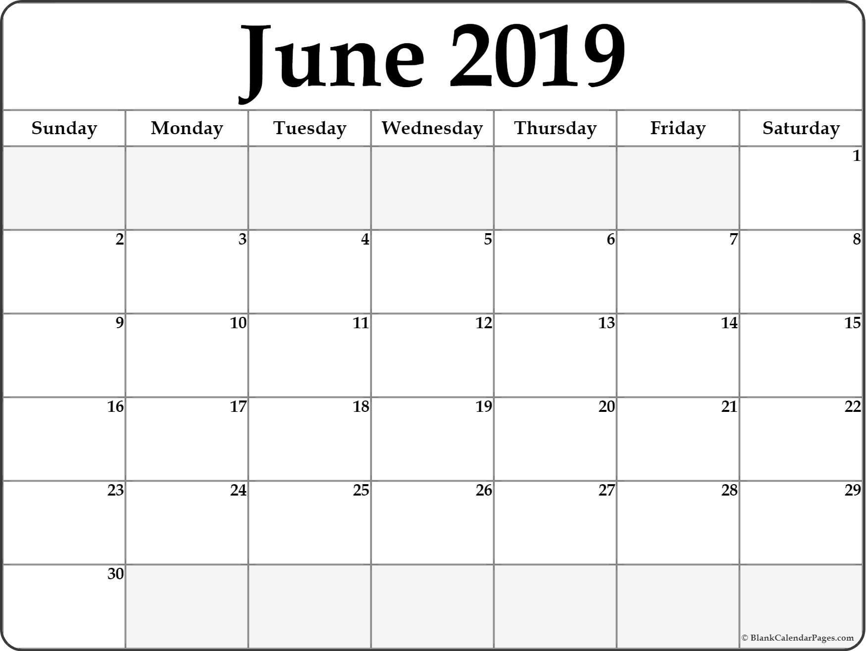 June 2019 Calendar | Free Printable Monthly Calendars Free Printable Calendar Double Month
